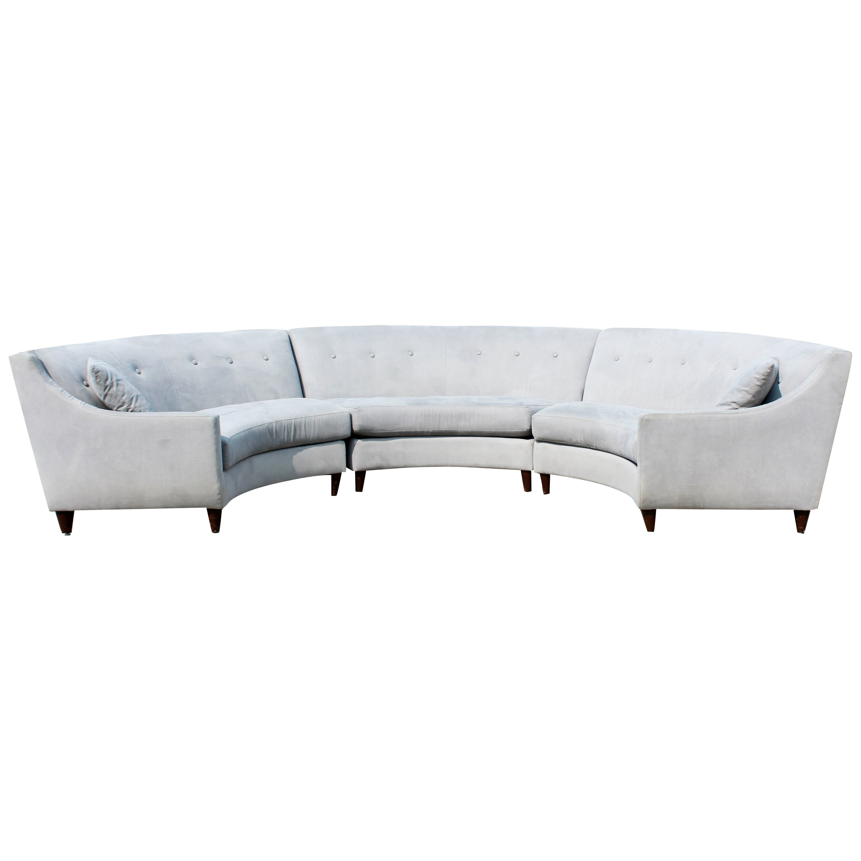 Contemporary Modernist 3-Piece High Back Curved Sectional Sofa Adler Style