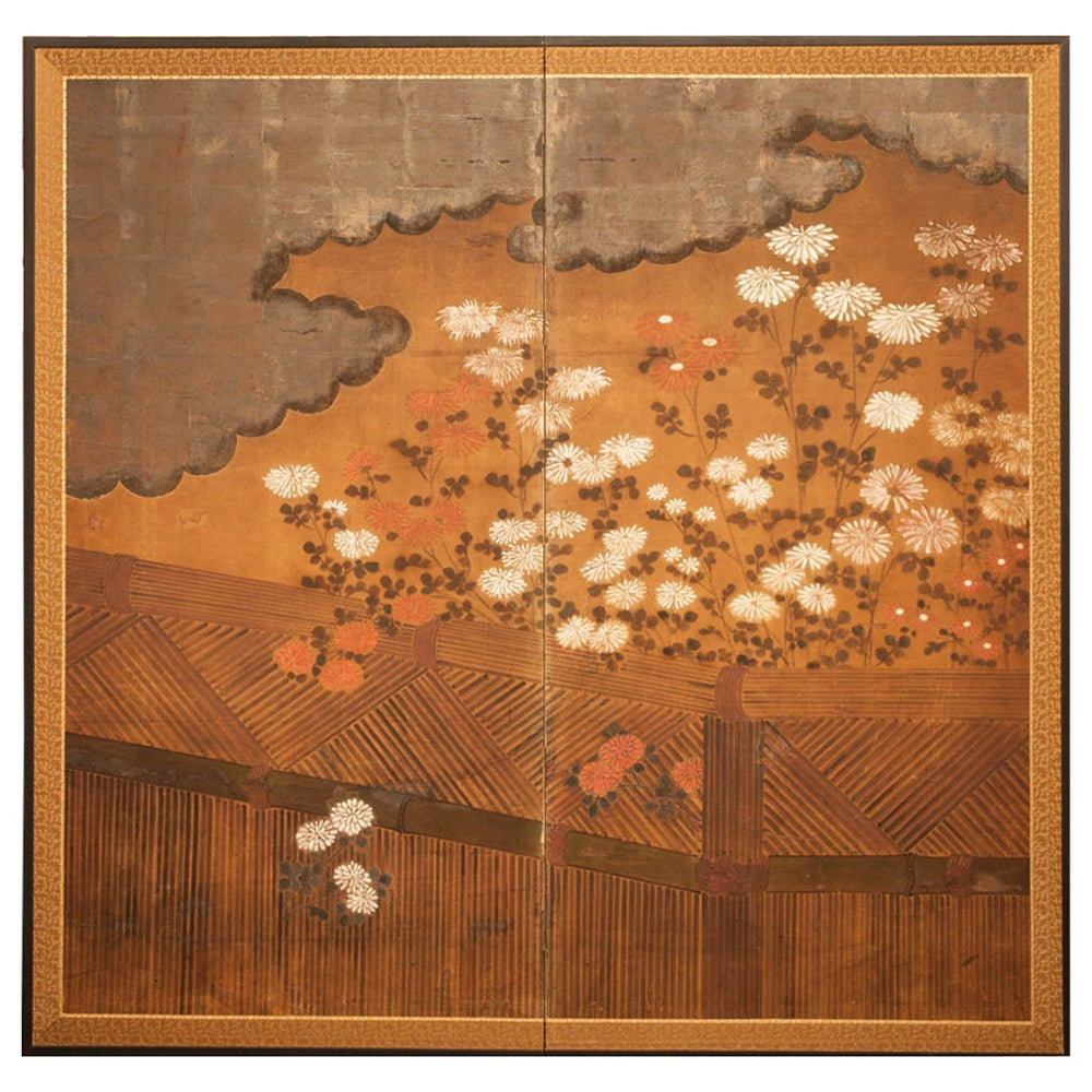 Japanese Two-Panel Screen Chrysanthemums Over a Woven Reed Fence