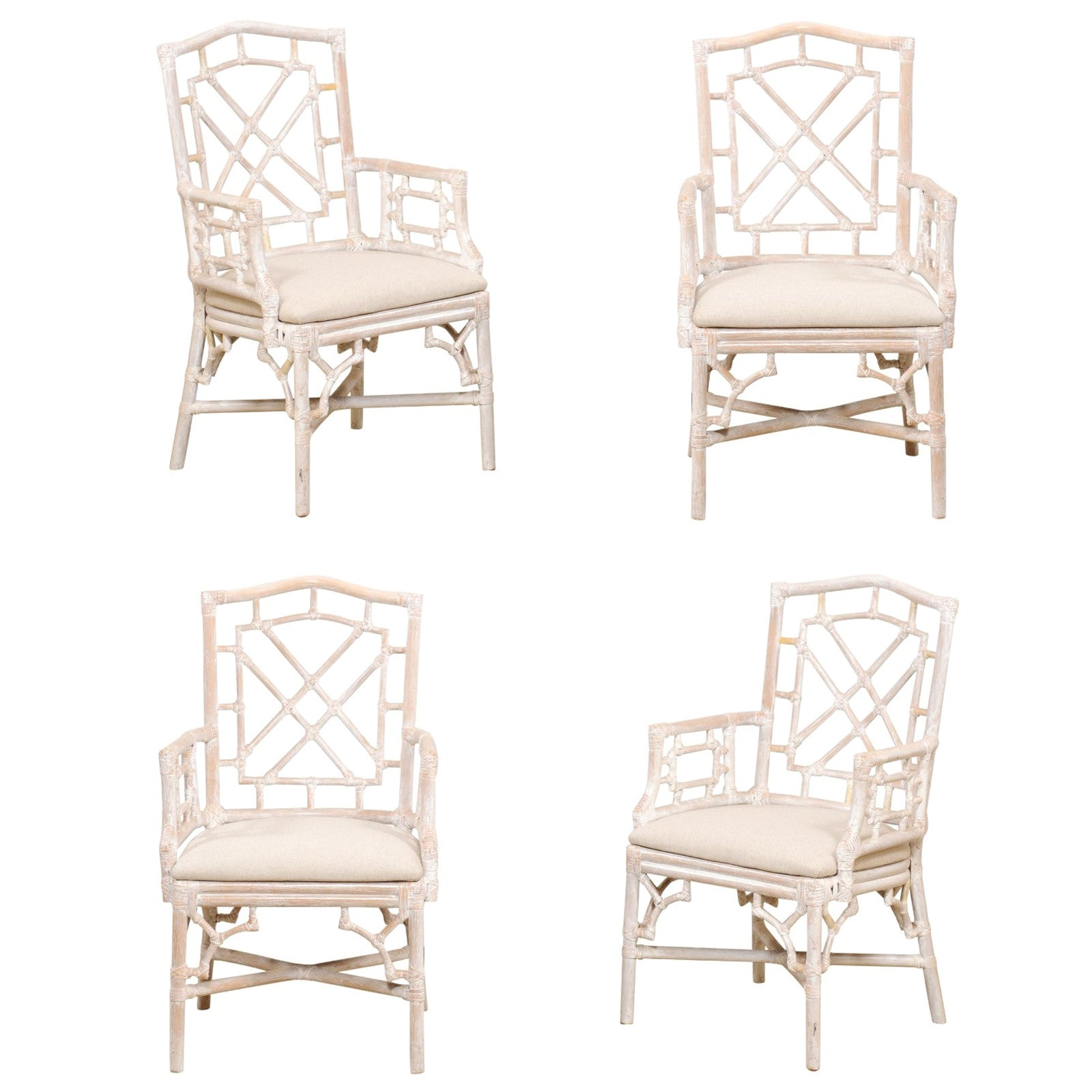 Set of 4 Vintage Faux Bamboo Carved Armchairs with Newly Upholstered Seats