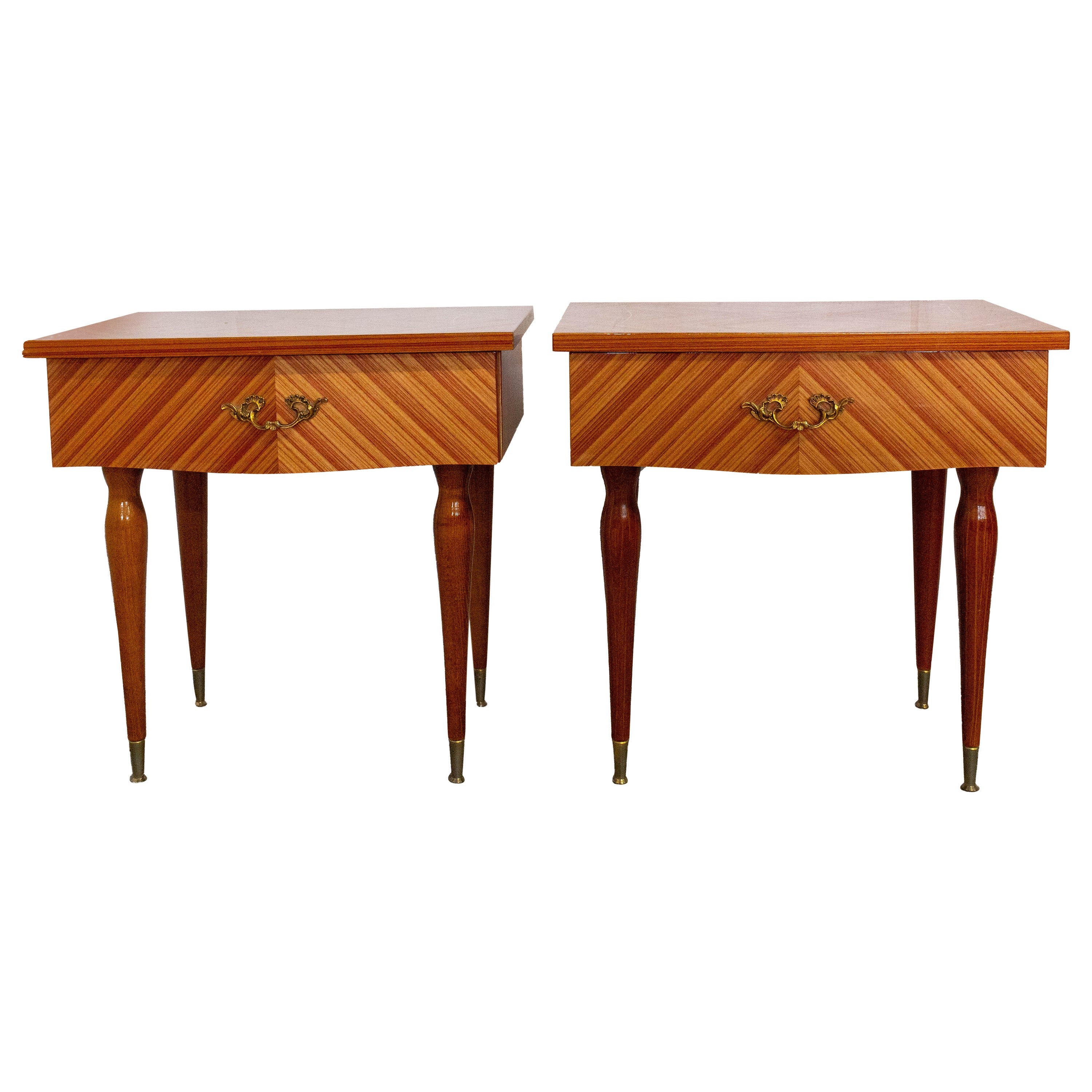 Pair of Midcentury Nightstands Side Cabinets Bedside Tables, French, circa 1970