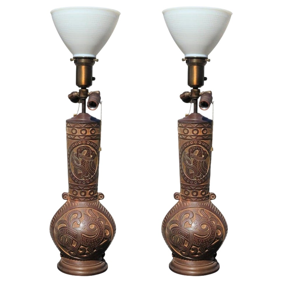 Pair of Cast Bronze Chinese Style Relief Lamps