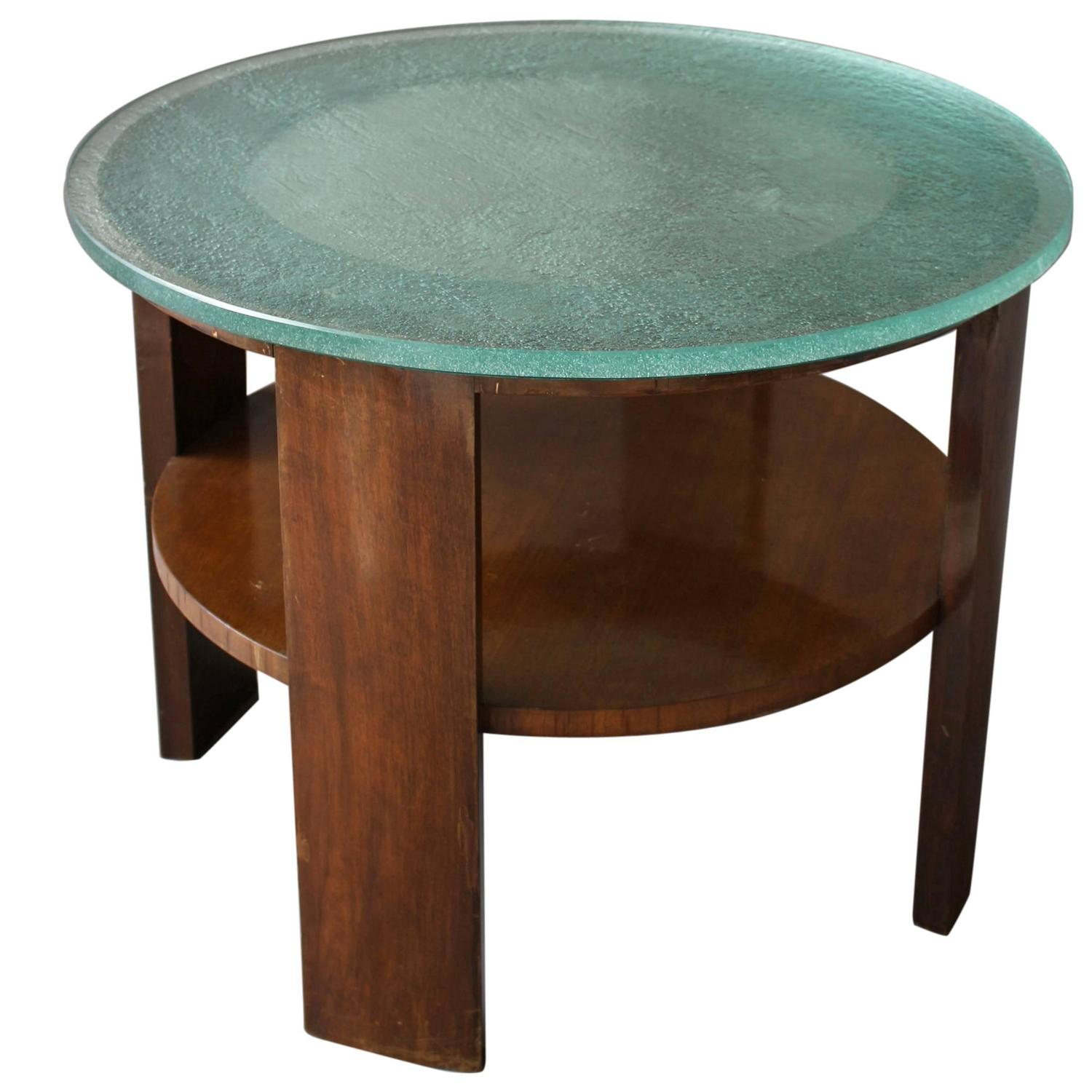 French Wood Slab Coffee Table At 1stdibs: French Art Deco Gueridon With A Slab Glass Top For Sale At