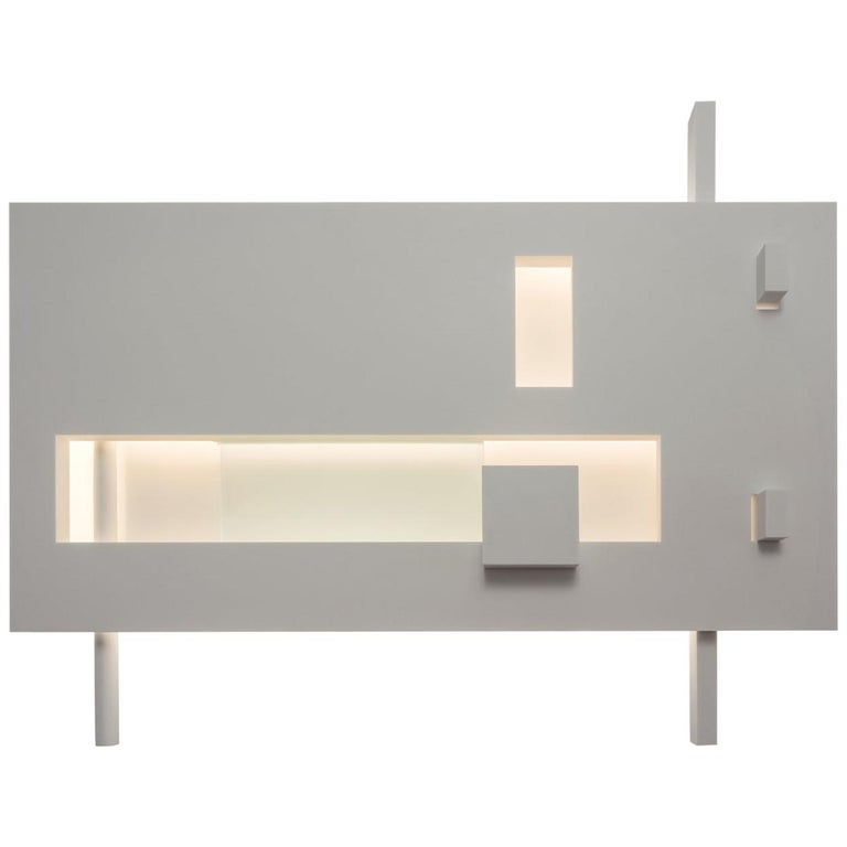 Oversized Geometric Wall-Mounted Light Sculpture in Corian, Ltd Edition For Sale