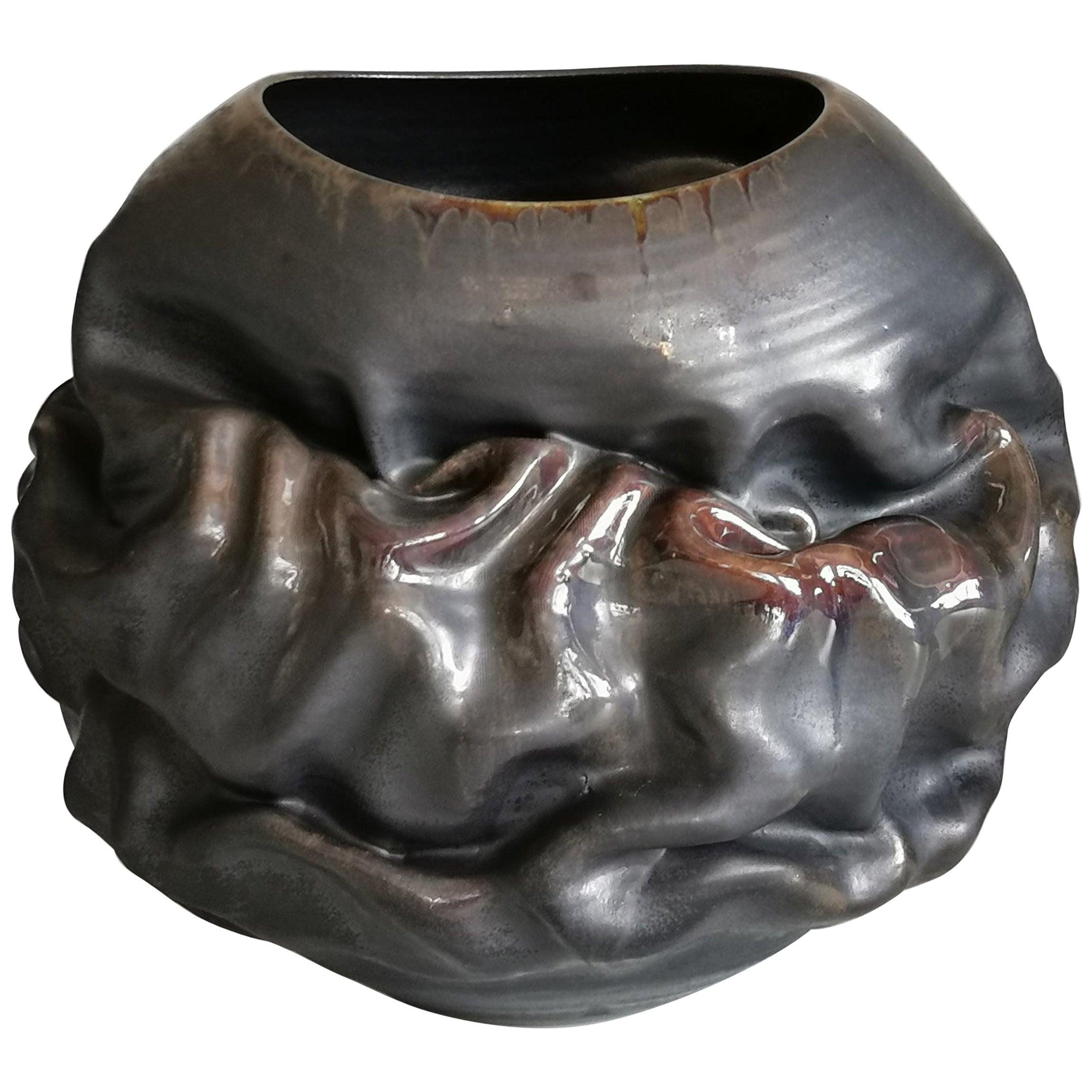Black Metallic Oval Dehydrated Form, Vase, Interior Sculpture or Vessel, Objet D
