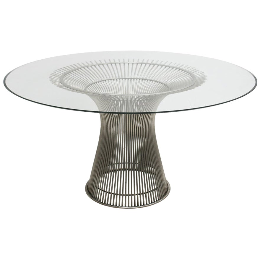 Warren Platner Mid-Century Modern for Knoll Glass Steel American Dining Table
