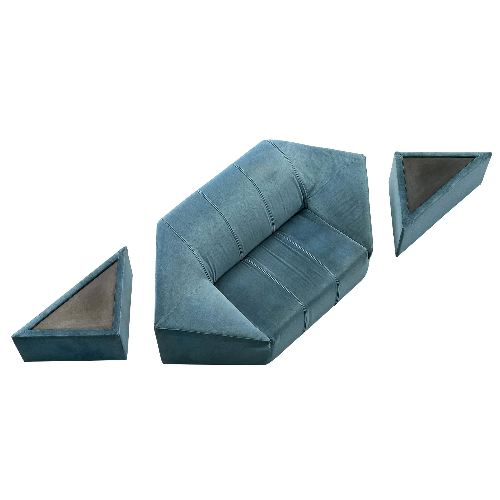 Hexagonal Sofa with Pair of Side Tables