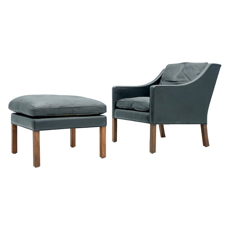 Danish Lounge Chair with Stool by Børge Mogensen in Black Leather, 1960s