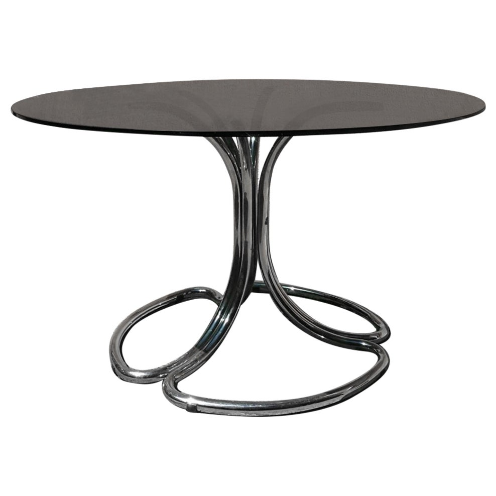 Italian Smoked Glass Dining Table with Curved Chromed Steel Legs, 1970s