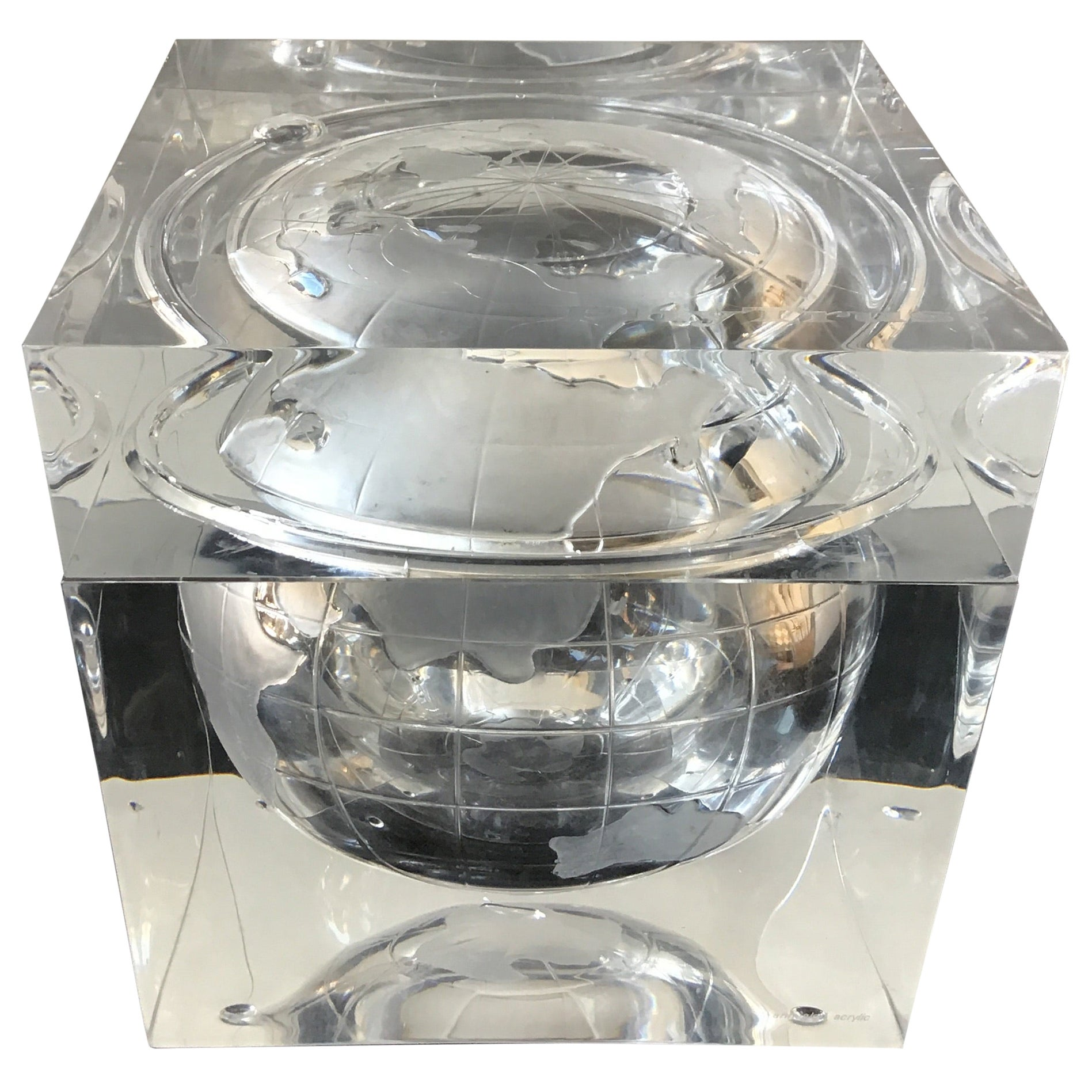 Alessandro Albrizzi Lucite World Globe Ice Bucket