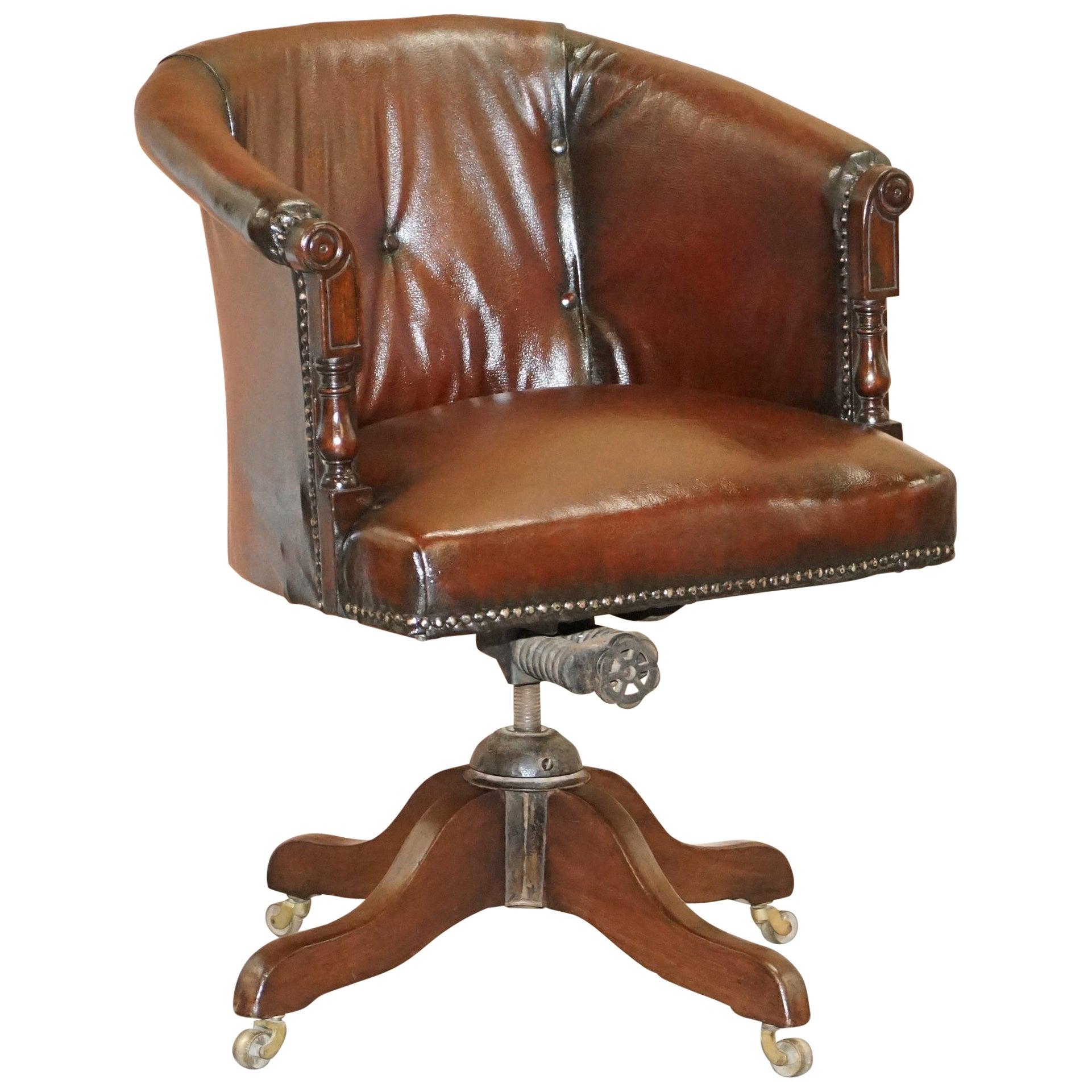Chesterfield circa 1880 Restored Brown Leather Barrel Back Captains Chair