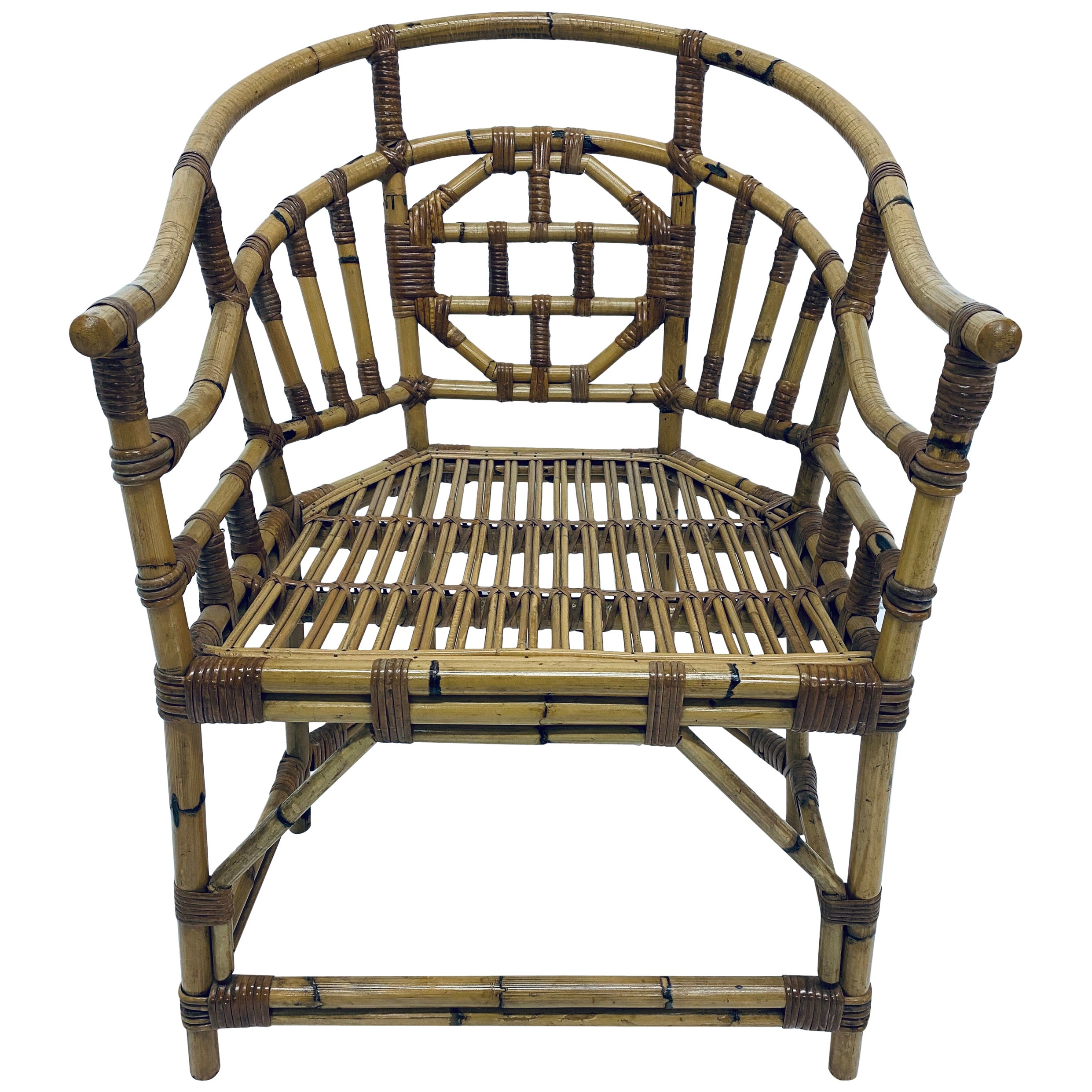 Brighton Pavilion Style Bamboo and Rattan Armchair, 1970s
