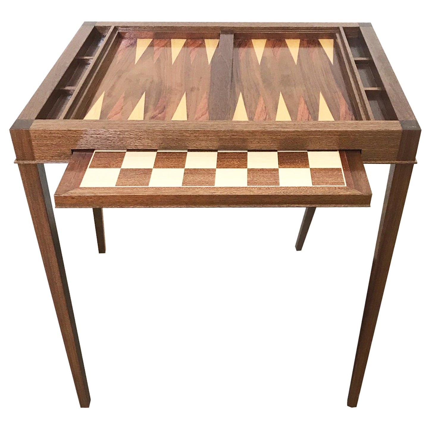 Custom Walnut Game Table with Backgammon and Chess