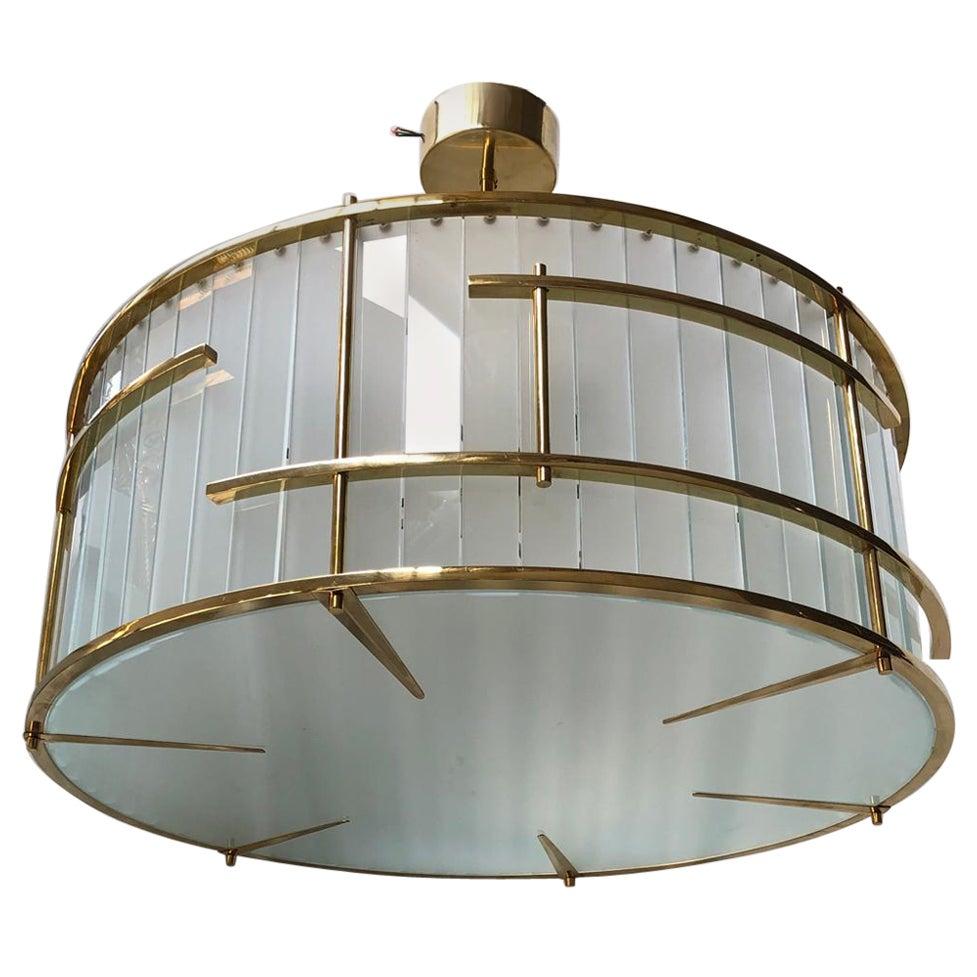 Murano Round Art Glass and Brass Midcentury Chandeliers, 1980