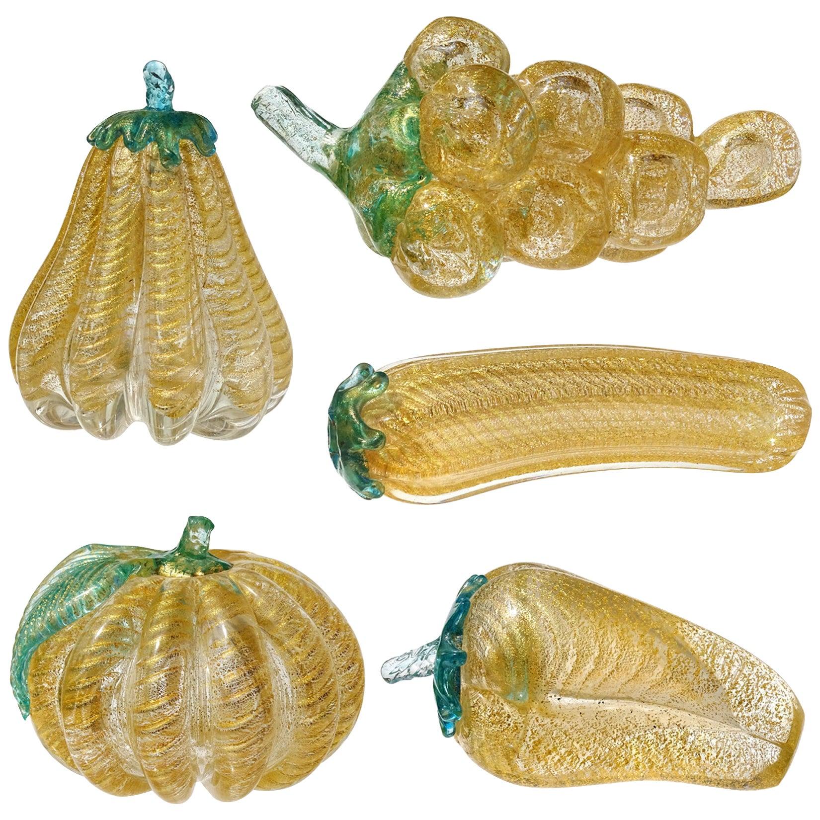 Barovier Toso Murano Gold Flecks Italian Art Glass Grapes Gourds Pepper Fruits