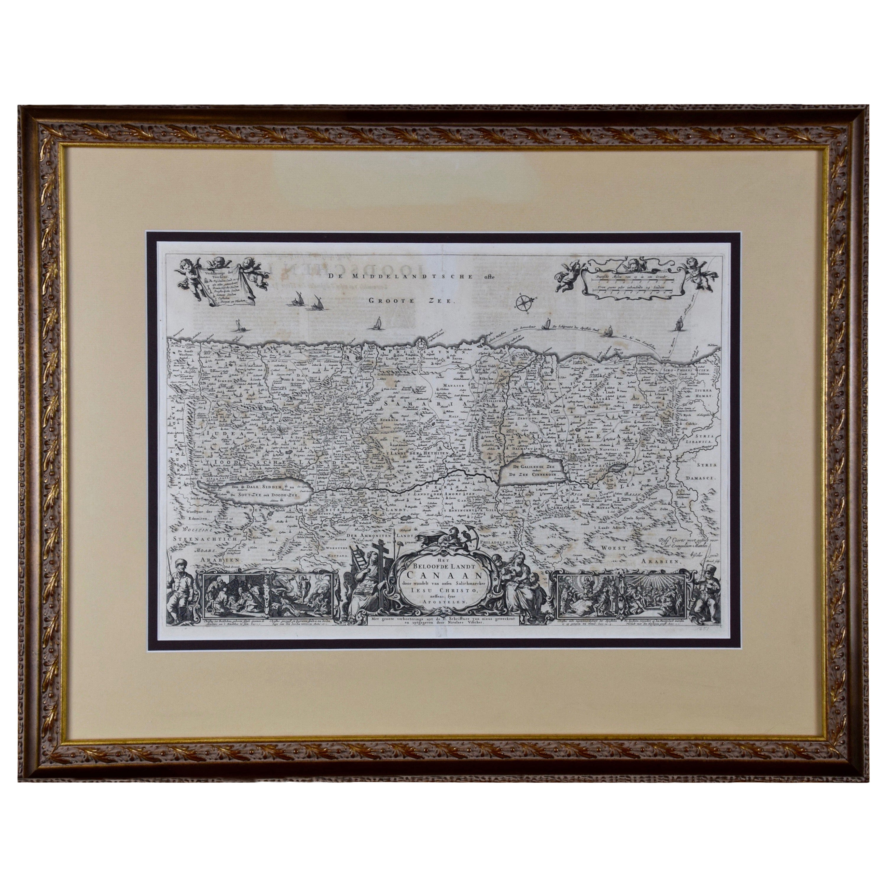 17th Century Dutch Map of the Holy Land at the Time of Jesus by Visscher