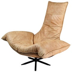 Monumental Leather Lounge Chair by Gerard van den Berg , The Netherlands 1970s