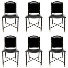 French Midcentury Set of 6 Chairs in Black Stitched Leather by Jacques Adnet