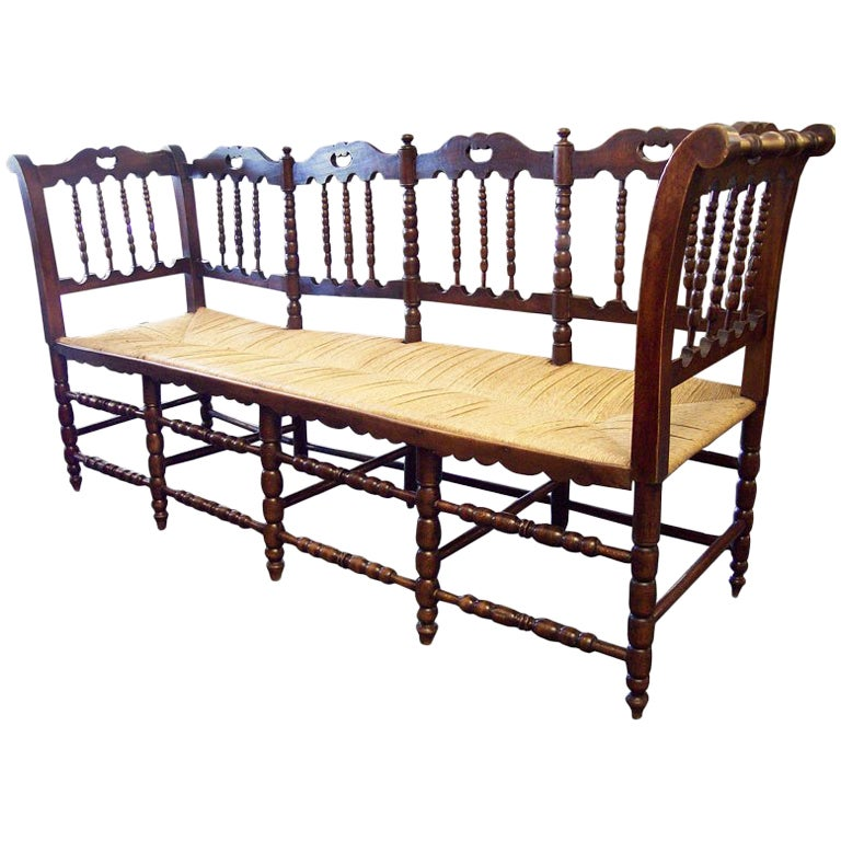 Antique French Rush Seated Bench with Spindle Back