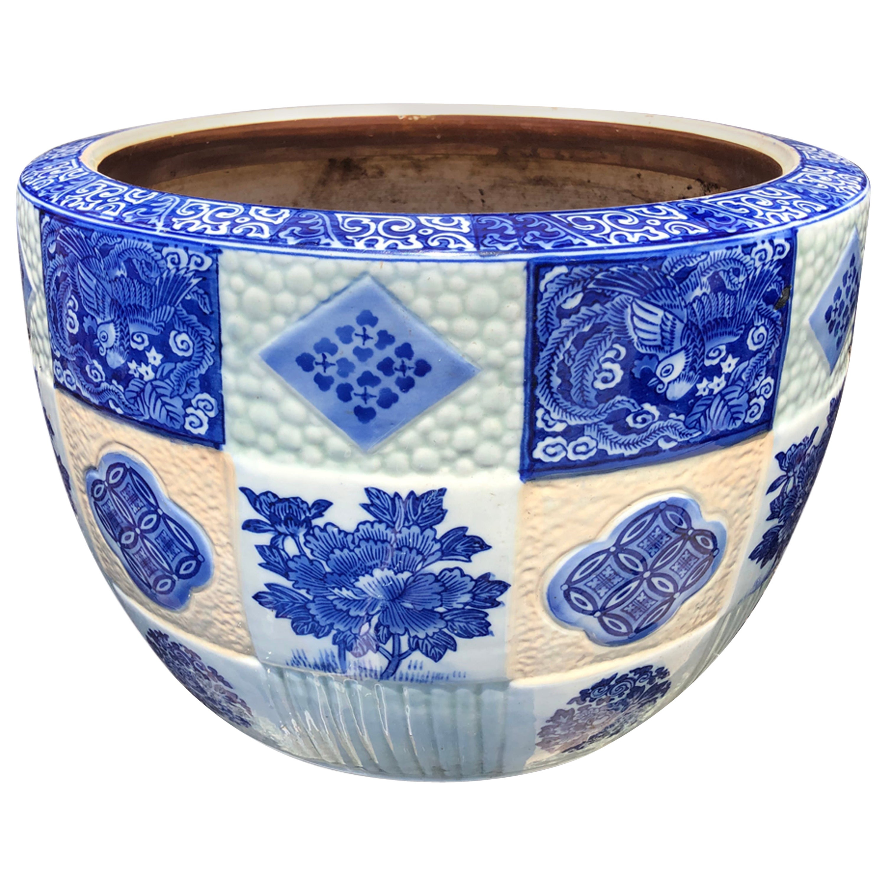 Japanese Big Brilliant Blue Ceramic Planter Bowl