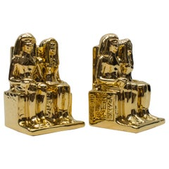Pair of Egyptian Hollywood Regency Ceramic Bookends by Bellini, Italy 1970s