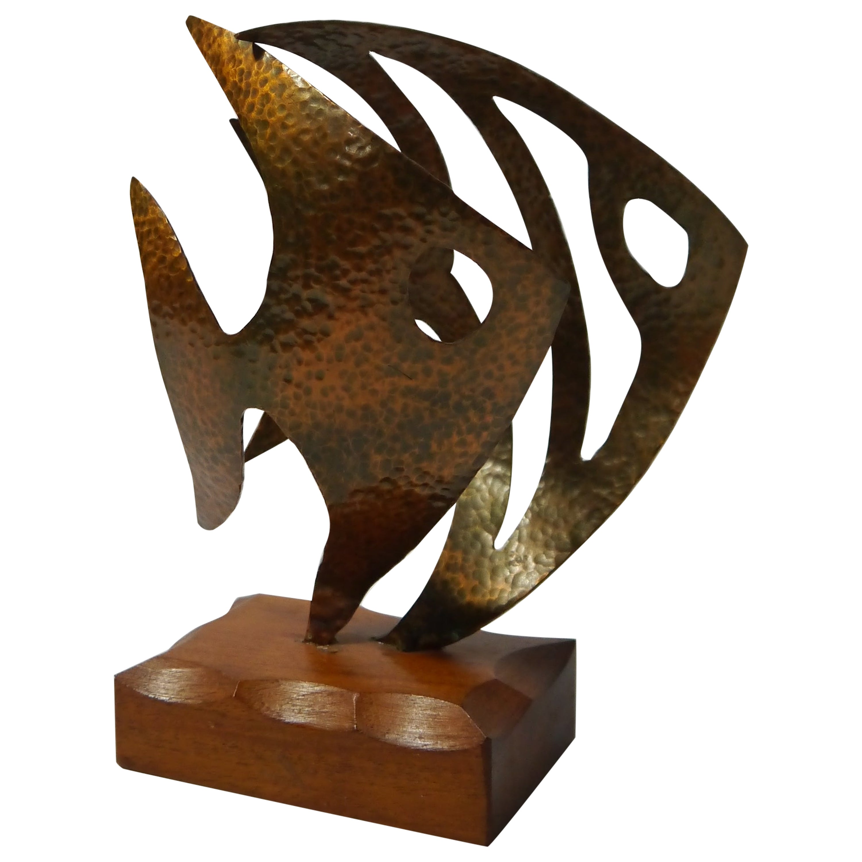 Hammered Copper Fish Sculpture on Teak Base, Sweden, 1970s