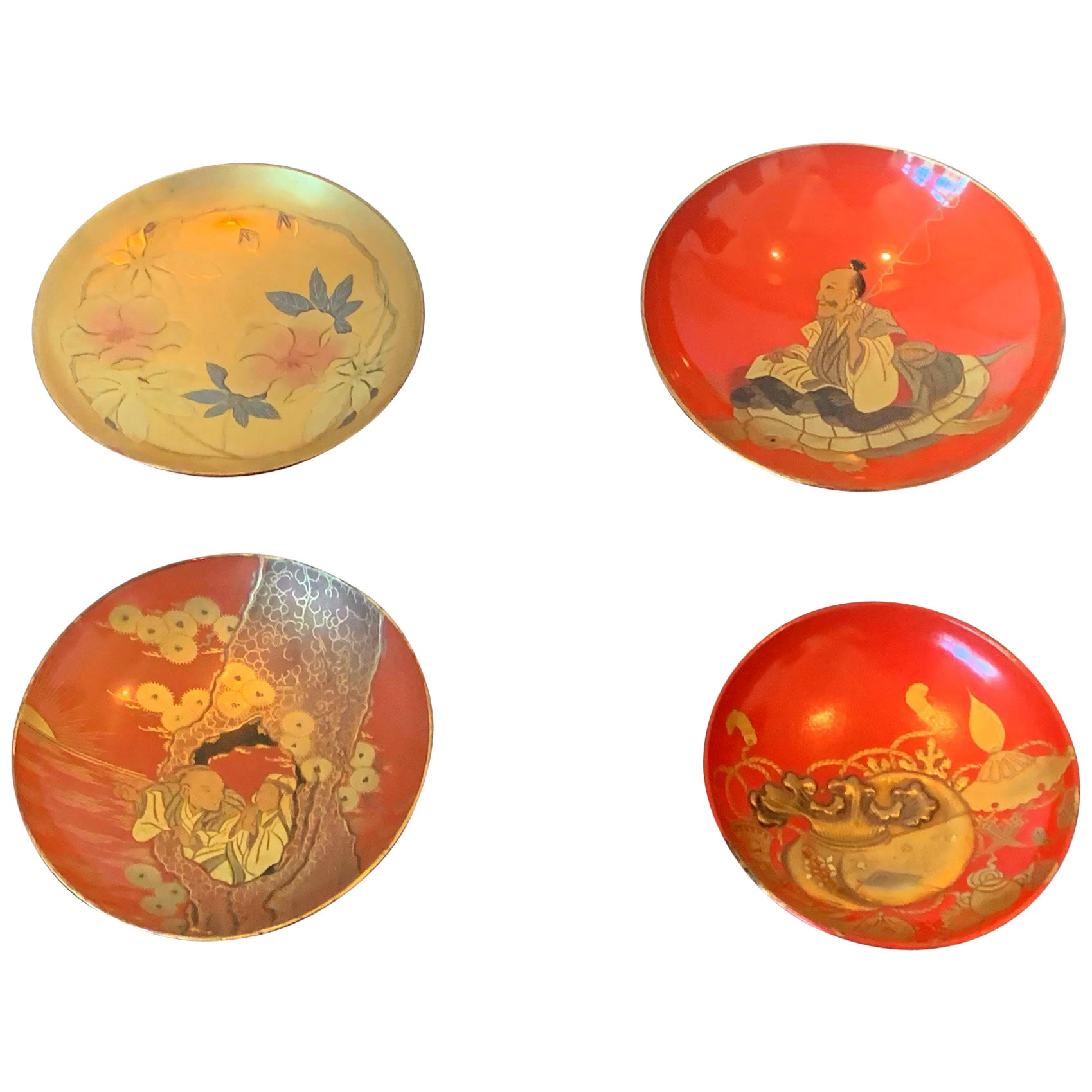 Four Japanese Lacquered Sake Cups Meiji Period