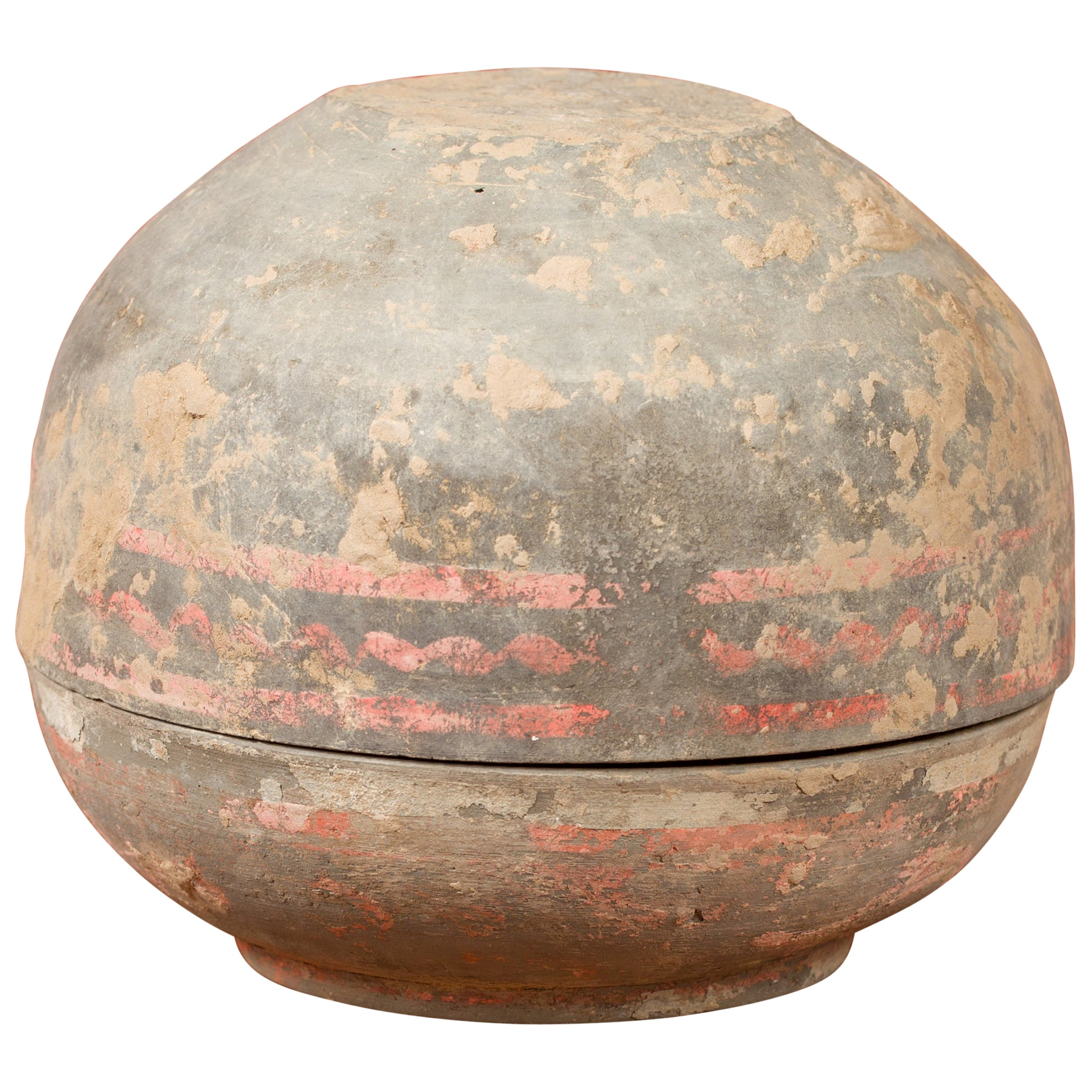 Petite Chinese Han Dynasty Lidded Vessel with Original Paint circa 202 BC-200 AD