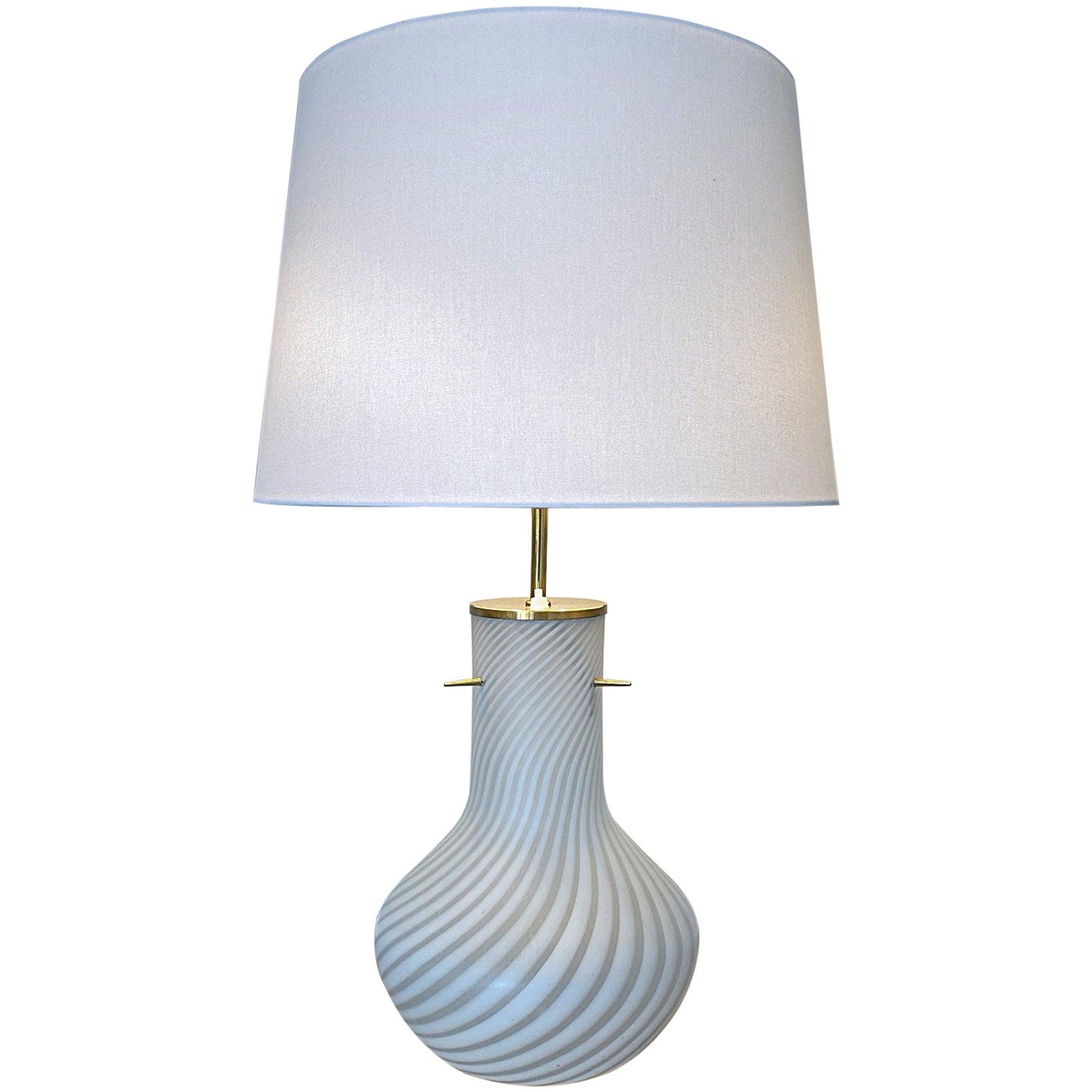 Venini Murano Big Blown Striped Glass Table Lamp, 1960s, Italy