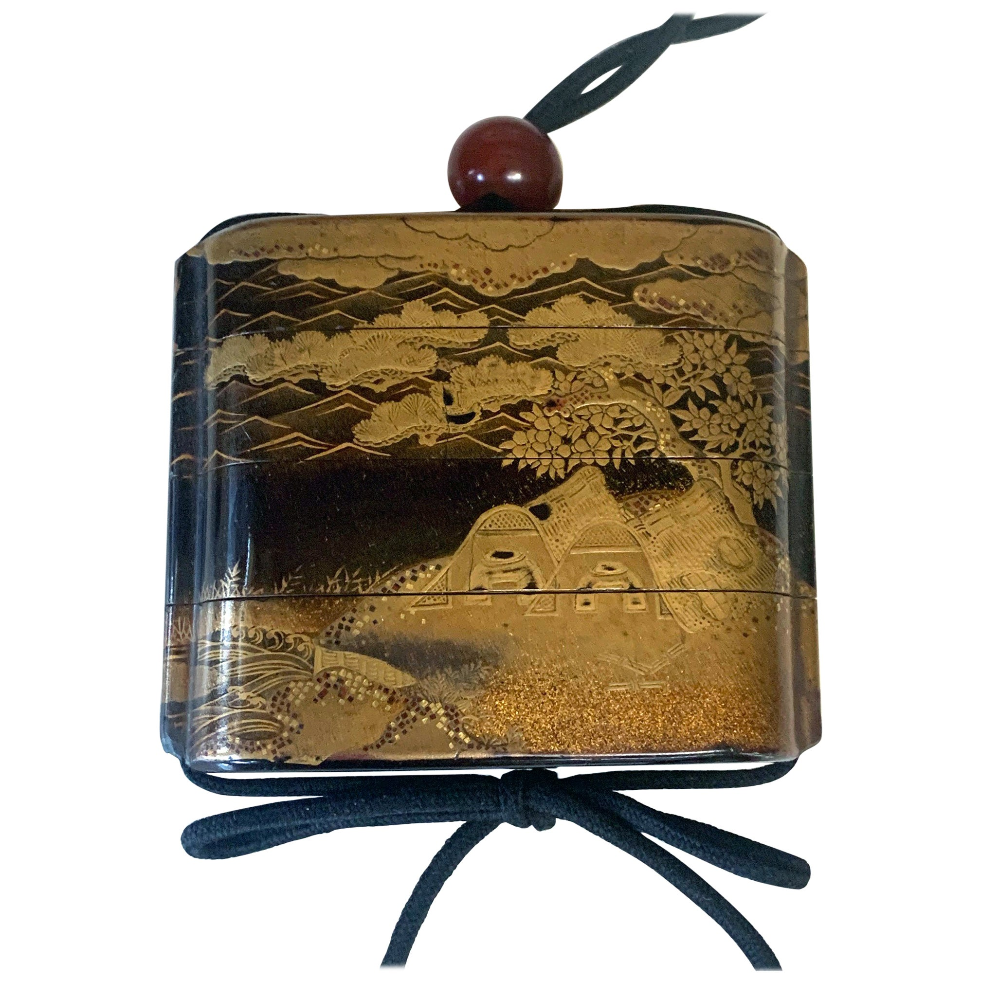 Large Japanese Lacquer Inro with Maki-e Landscape Meiji Period