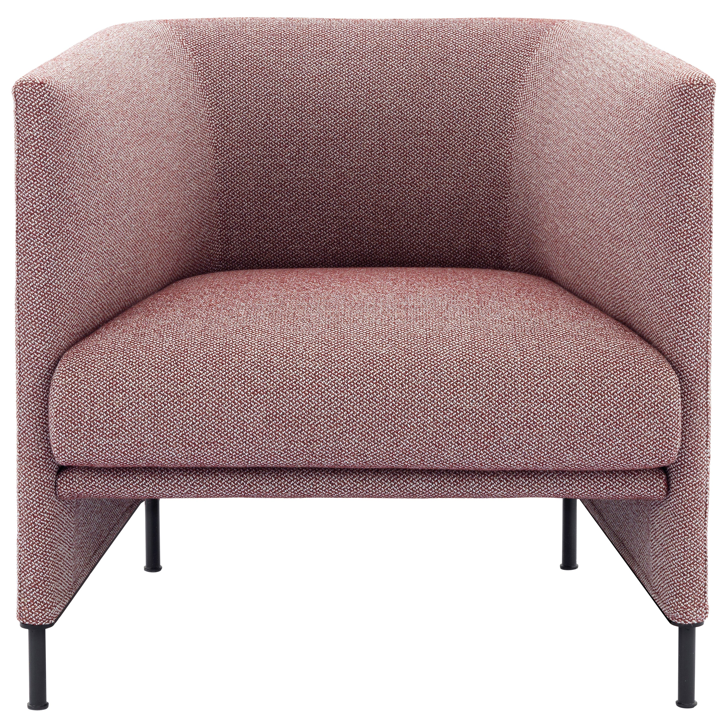 Arflex Algon Low Back Armchair in Pink Boucle Fabric by Luca Nichetto
