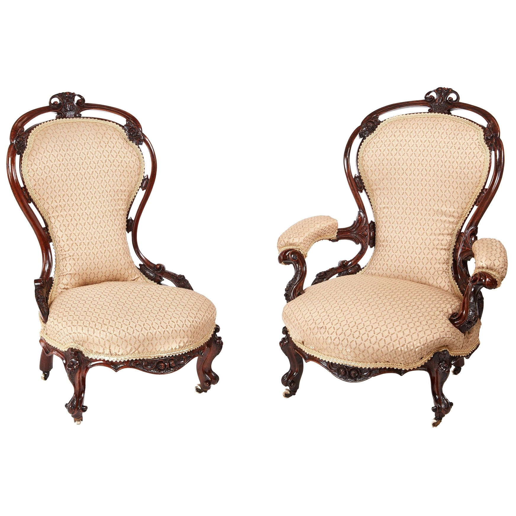 Pair of Victorian Carved Walnut Chairs