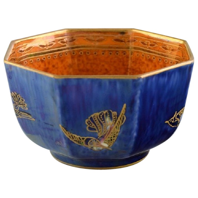 """Wedgwood, England, """"Fairy"""" Bowl in Luster Glaze Decorated with Birds"""