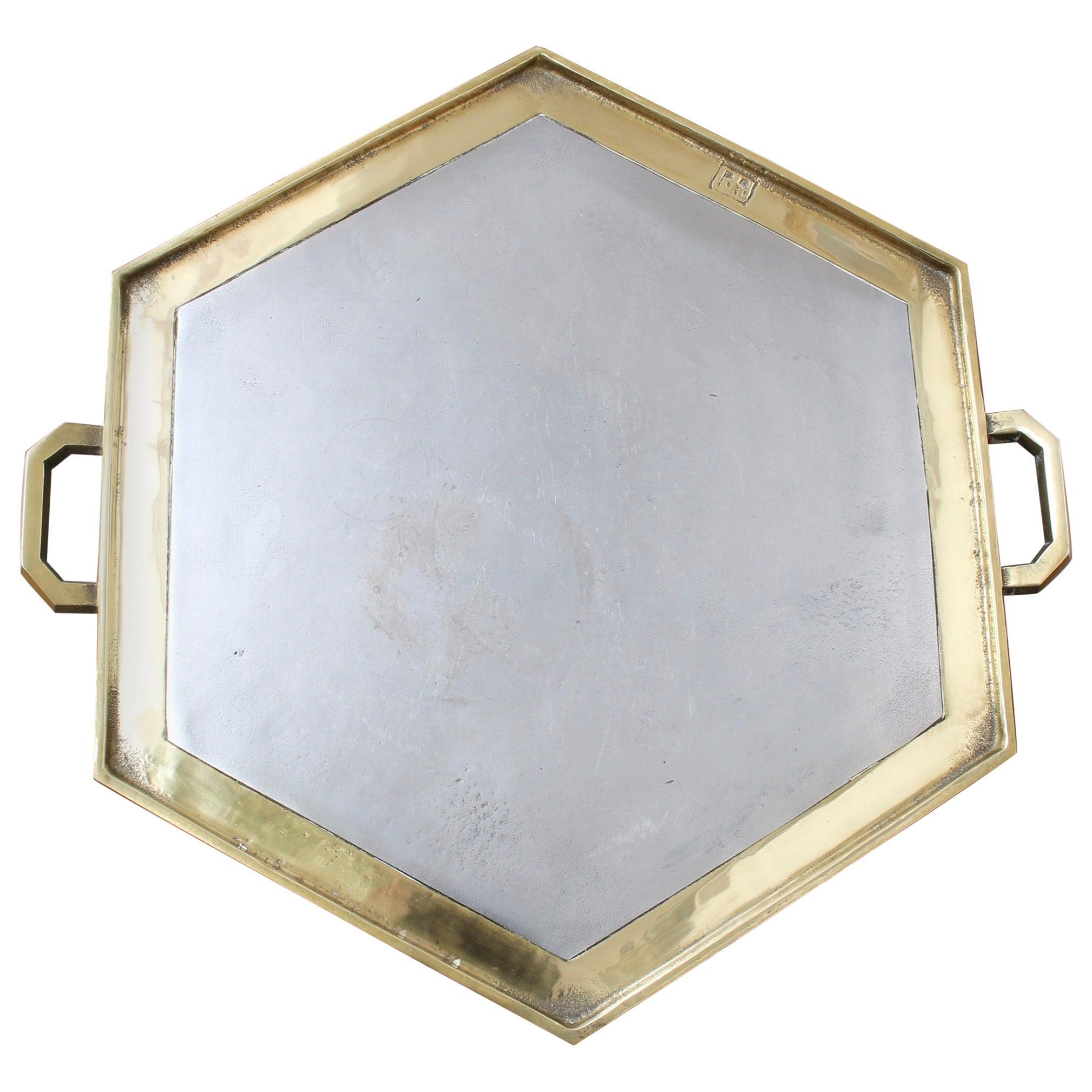 Aluminium and Brass Hexagon-Shaped Serving Tray by David Marshall, circa 1970s