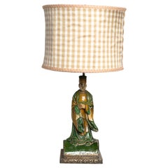 Chinese Ceramic Glazed Figurine Table Lamp in the Tang Dynasty Style