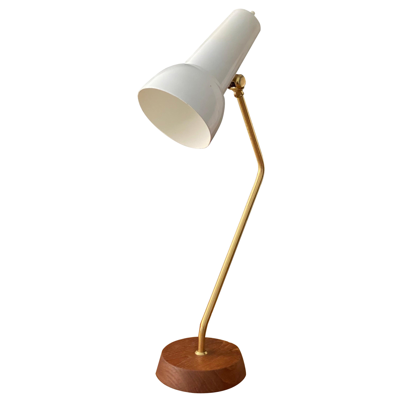 Ewå Värnamo, Desk Light / Table Lamp, Teak, Brass, Lacquered Steel, Sweden 1960s