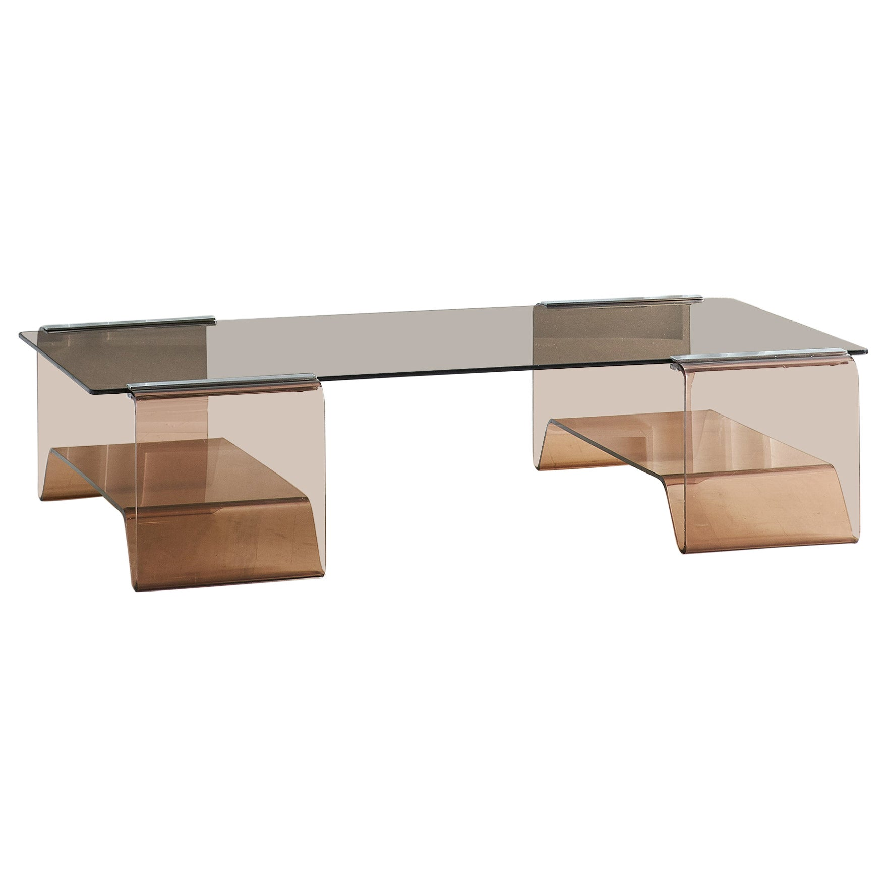 Michel Dumas Lucite Coffee Table with Smoked Glass Top