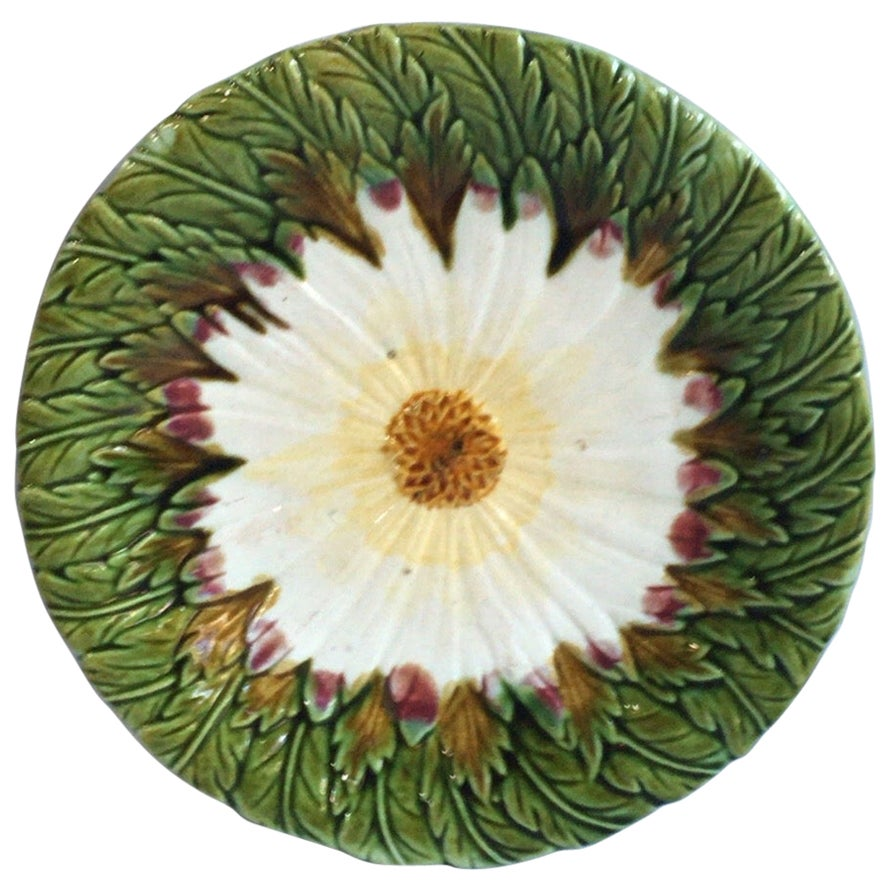 French Majolica Daisy Plate Orchies, circa 1880