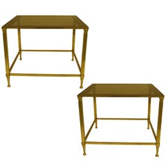 Pair of Mid-Century Modern Neoclassical Side Tables Attributed to Maison Jansen