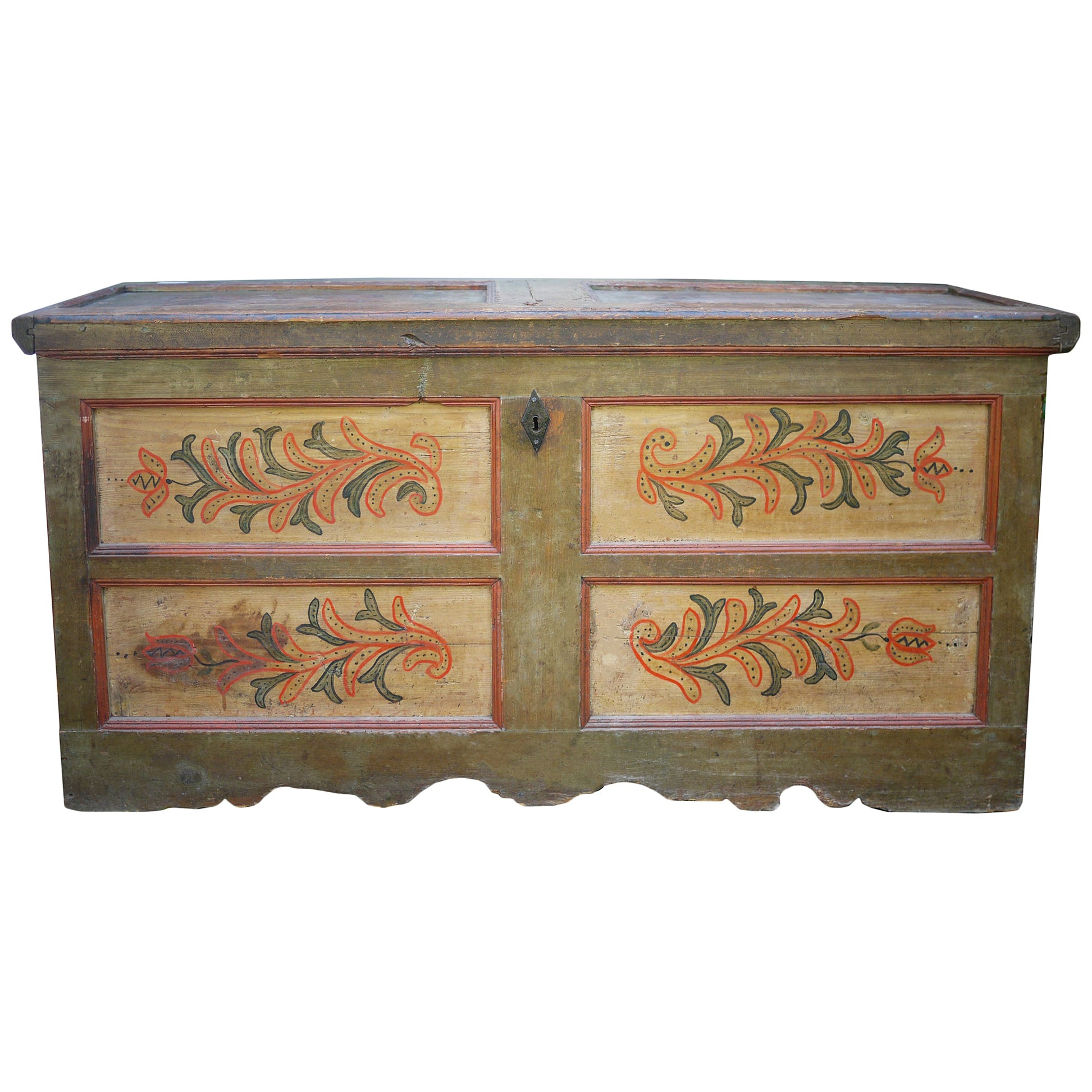 Green Floral Painted Blanket Chest, Italy, 1810