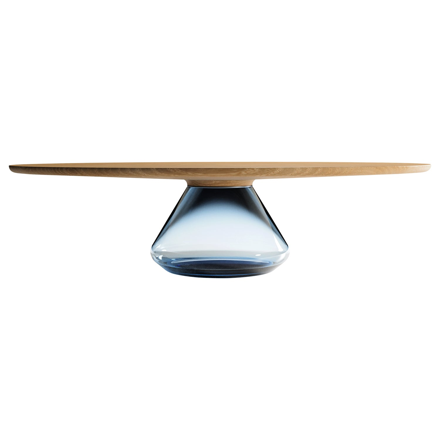 """Sky Eclipse"" Contemporary Coffee Table Feat Glass & Oiled Oak by Grzegorz Majka"