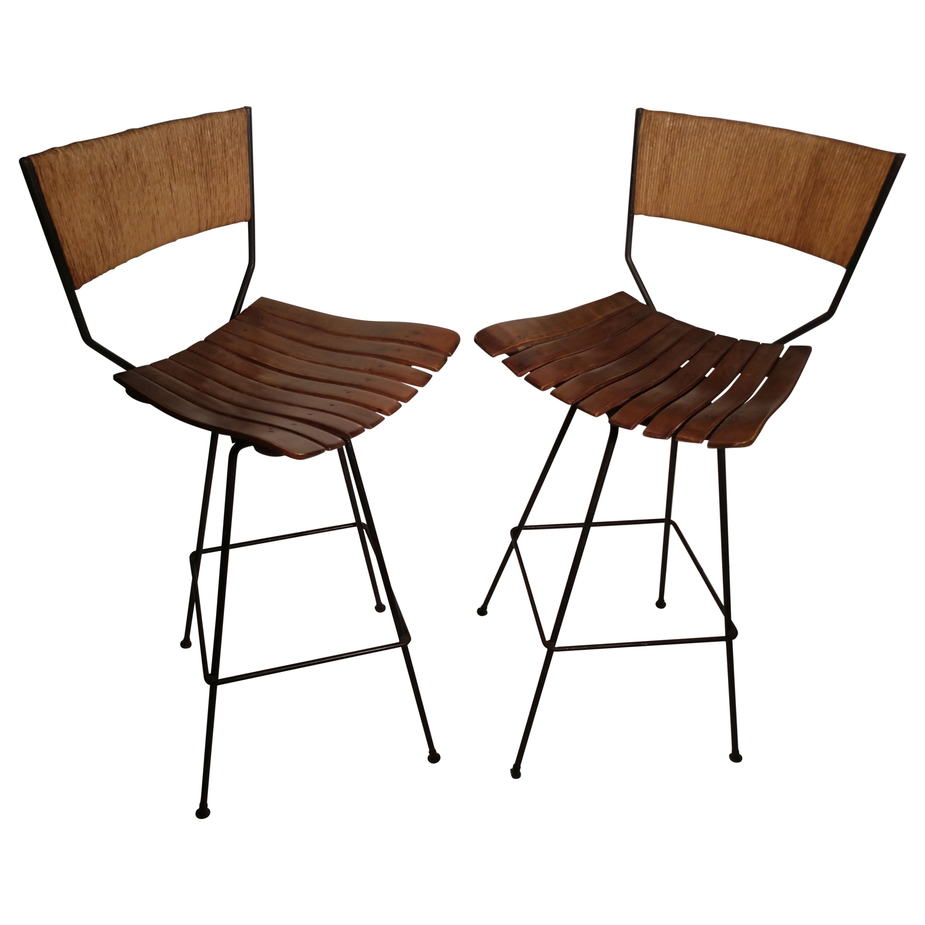 Pair of Mid-Century Modern Bar Stools by Arthur Umanoff 5 Available