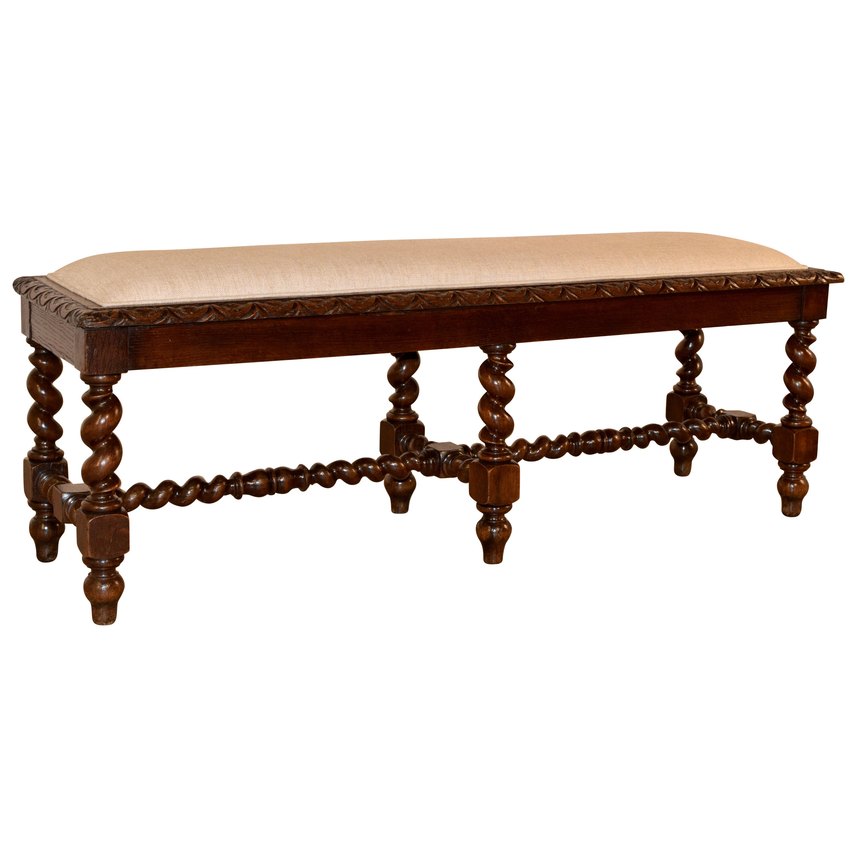 19th Century Upholstered French Bench