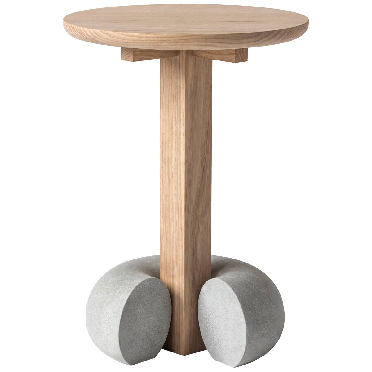 Poise Contemporary Stool Table in Solid Ash Hardwood and Concrete by Desmond Lim