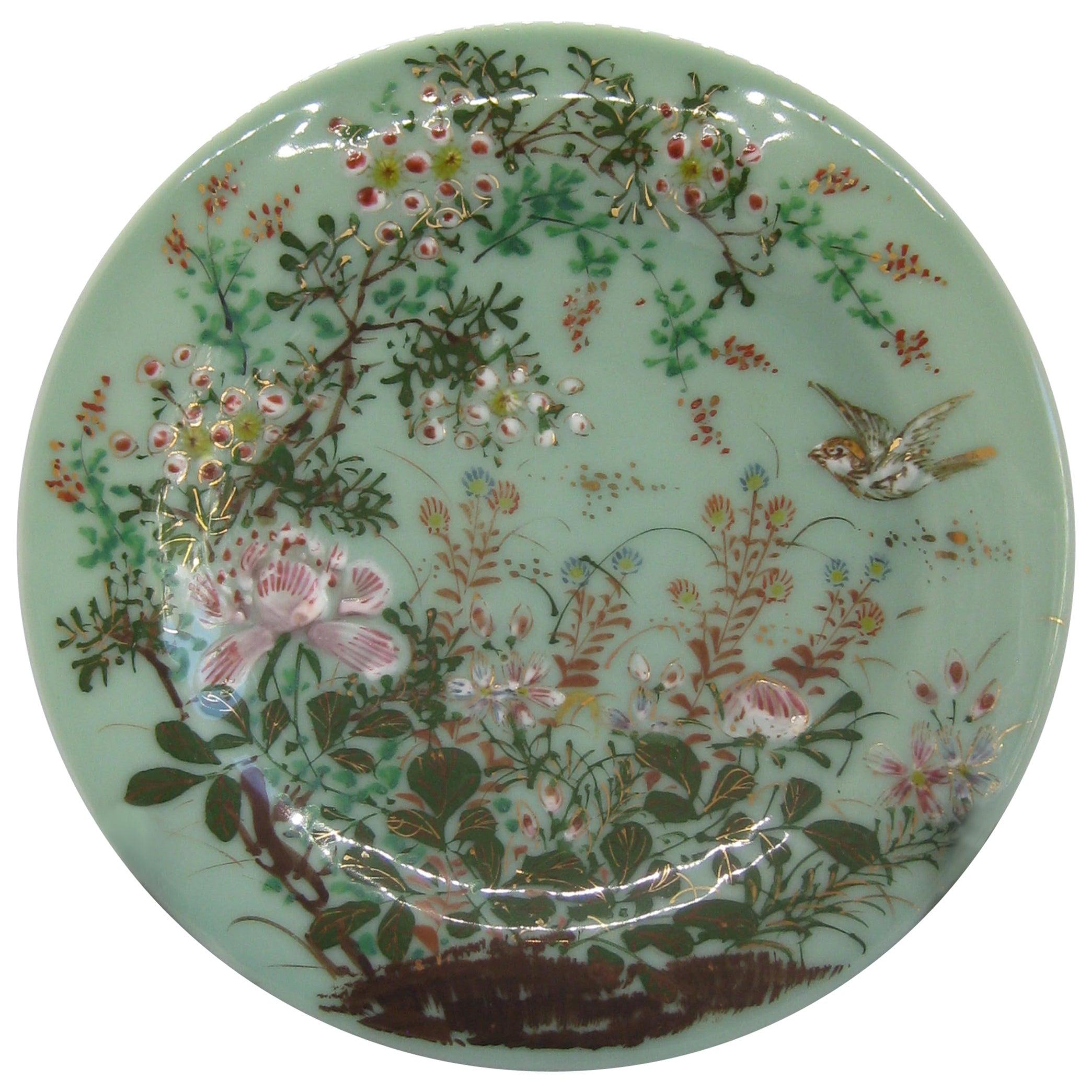 Antique Japanese Celadon Imari Nabeshima Enamel Porcelain Plate Meiji Era Signed