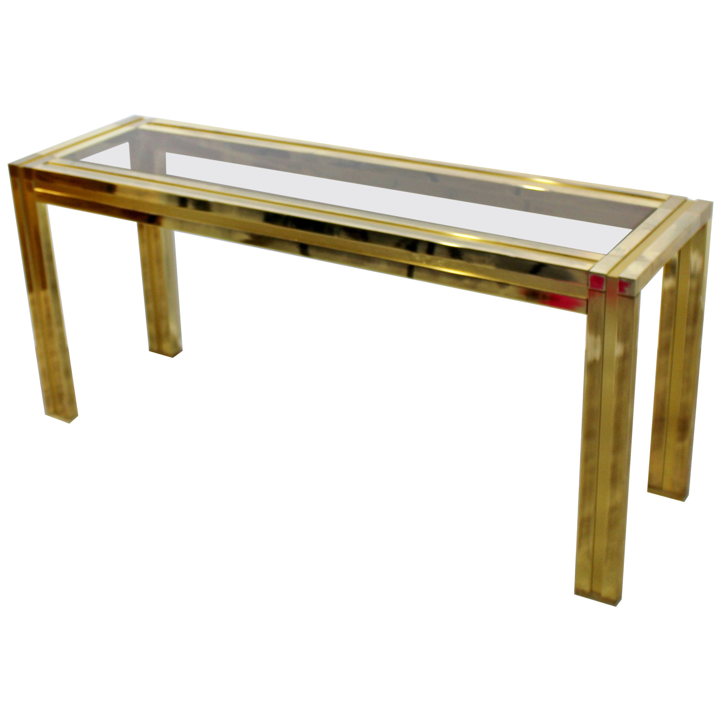 Mid-Century Modern Mastercraft Brass and Smoked Glass Console Table, 1960s