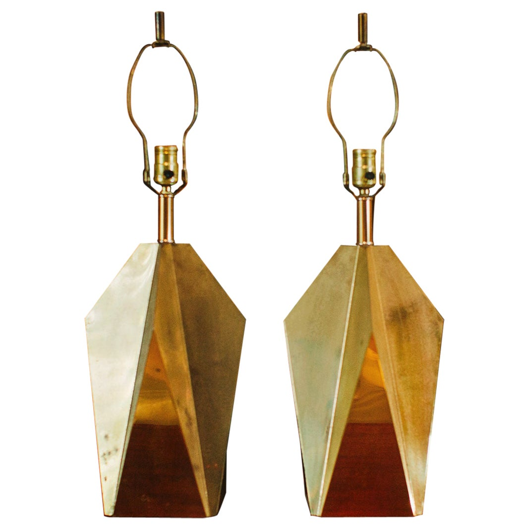 Pair of 1970s Faceted Brass Designer Table Lamps
