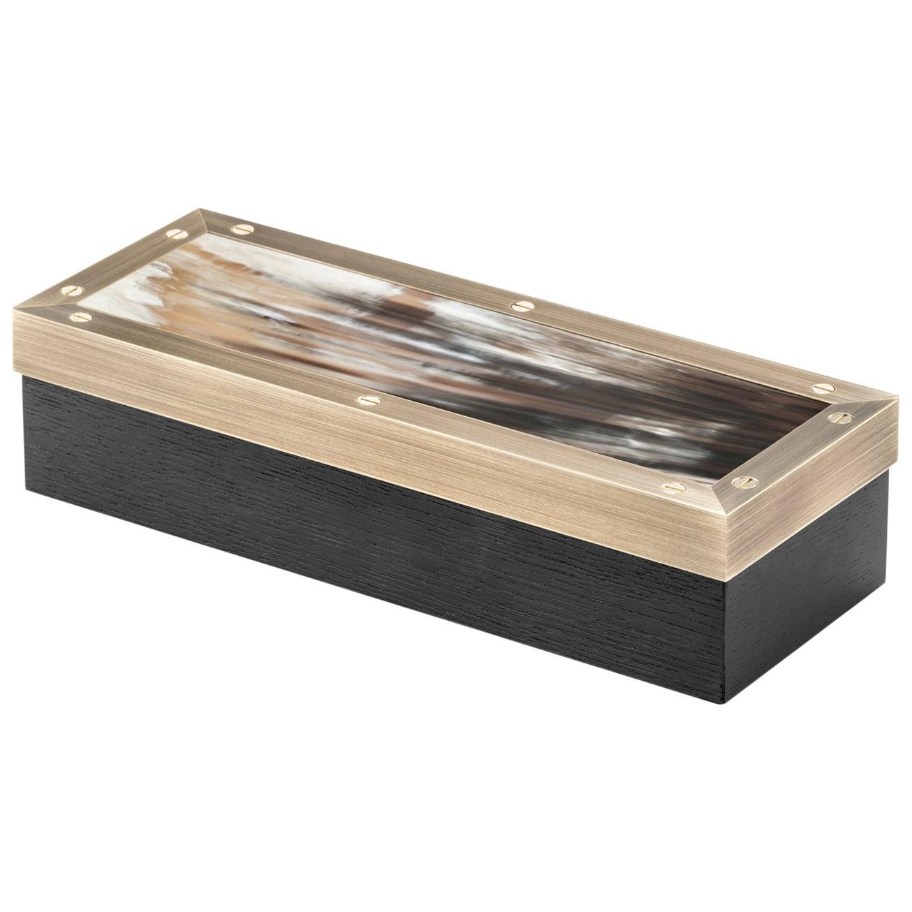 Zefiro Box in Black Oak, Matte Corno Italiano and Burnished Brass, Mod. 5268