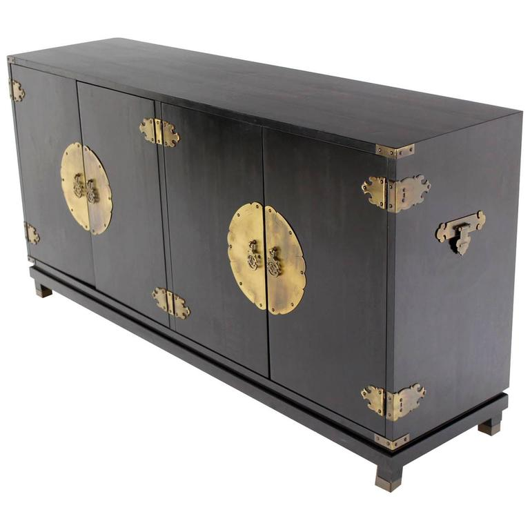 Black Lacquer Oriental Mid-Century Modern Sideboard or Credenza Large Brass