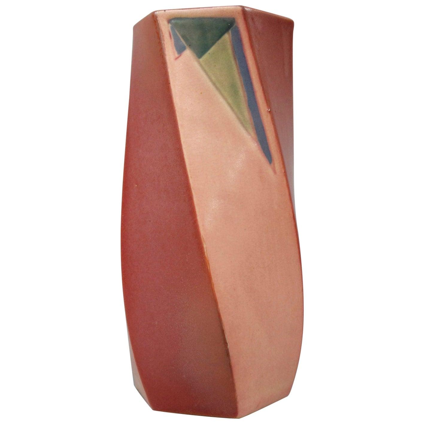 Antique Roseville Futura Art Deco Twisted Art Pottery Vase, circa 1920