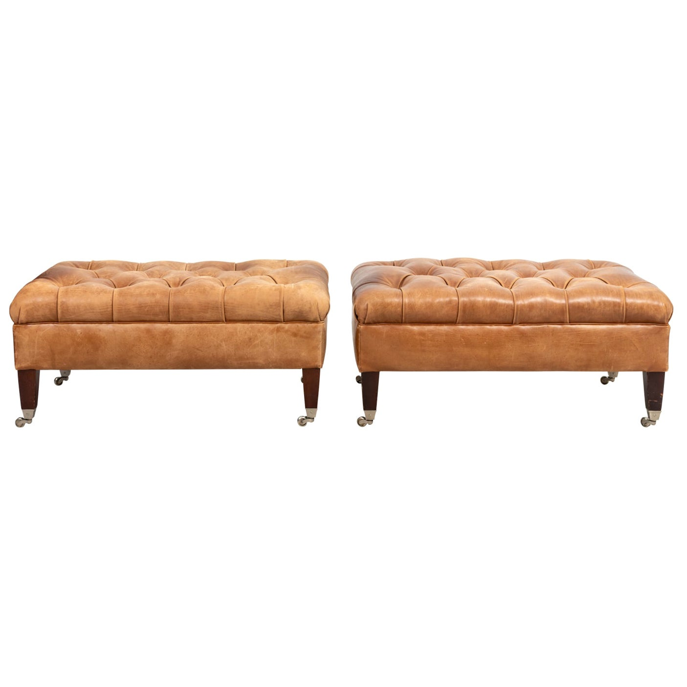 Pair of English Style Leather Tufted Benches